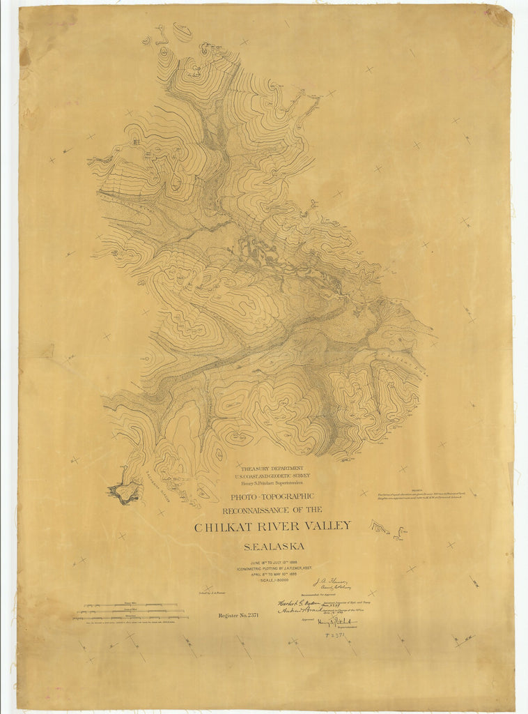 18 x 24 inch 1899 US old nautical map drawing chart of Reconnaissance of the Chilkat River Valley From  US Coast & Geodetic Survey x2164