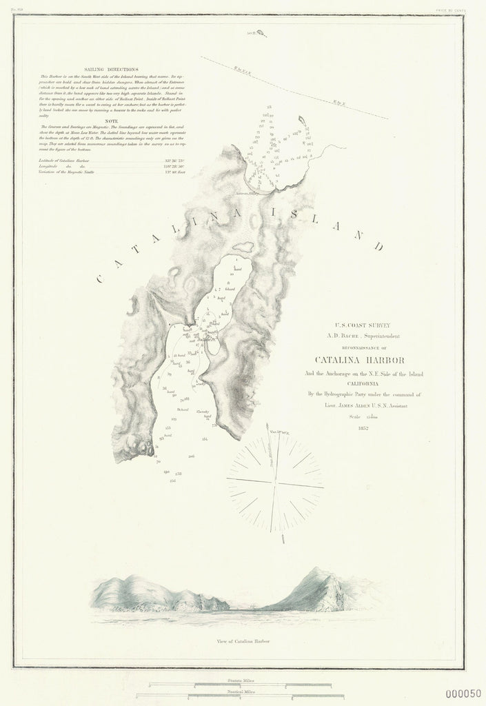 18 x 24 inch 1852 US old nautical map drawing chart of RECONNAISSANCE OF CATALINA HARBOR AND THE ANCHORAGE ON THE NE SIDE OF THE ISLAND From  US Coast & Geodetic Survey x4237