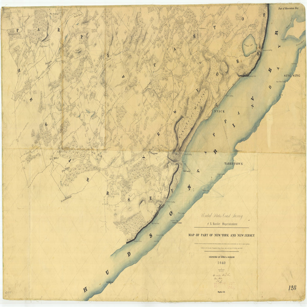 18 x 24 inch 1840 US old nautical map drawing chart of Map of Part of New York and New Jersey From  U.S. Coast Survey x6093