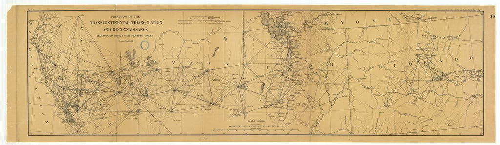18 x 24 inch 1884 US old nautical map drawing chart of Progress of the Transcontinental Triangulation and Reconnaissance Eastward from the Pacific Coast From  US Coast & Geodetic Survey x351
