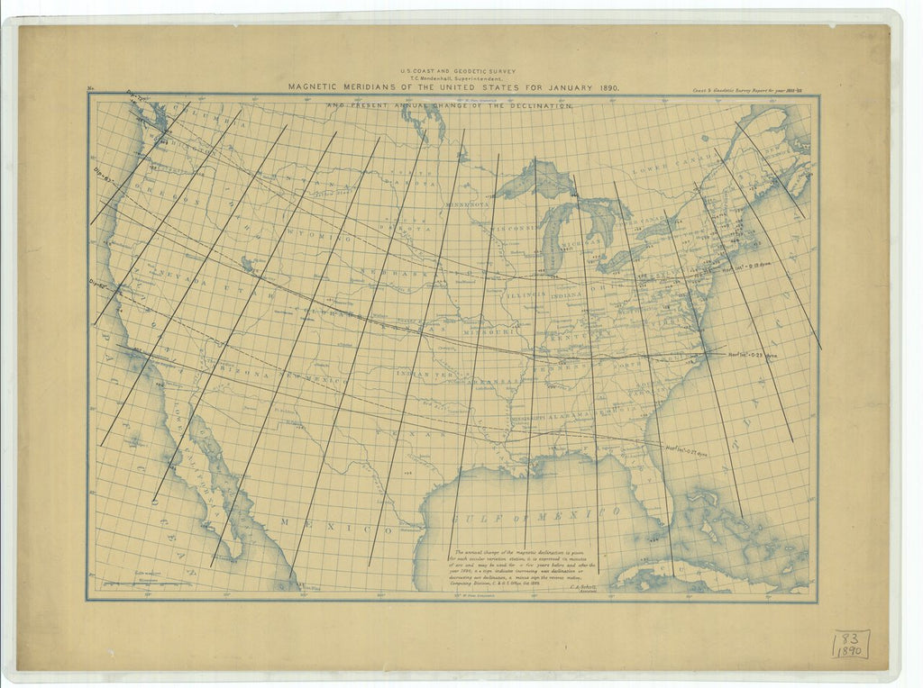18 x 24 inch 1889 US old nautical map drawing chart of Magnetic Meridians and Present Annual Change of the Declination of the United States for January 1890 From  US Coast & Geodetic Survey x119