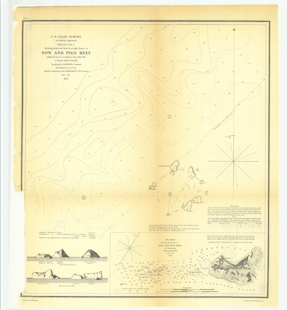 18 x 24 inch 1853 US old nautical map drawing chart of Sketch A Number 5 Showing Proposed Site for a Light House on Sow and Pigs Reef with a Sub Sketch Showing the Position of Sow and Pigs Reef off Cuttyhunk Massachusetts From  U.S. Coast Survey x2706