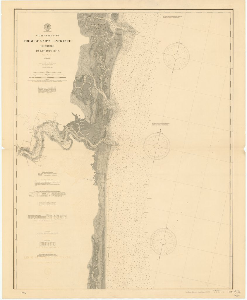 18 x 24 inch 1900 US old nautical map drawing chart of FROM ST. MARYS ENTRANCE SOUTHWARD TO LATITUDE 30 ¡ N. From  US Coast & Geodetic Survey x595