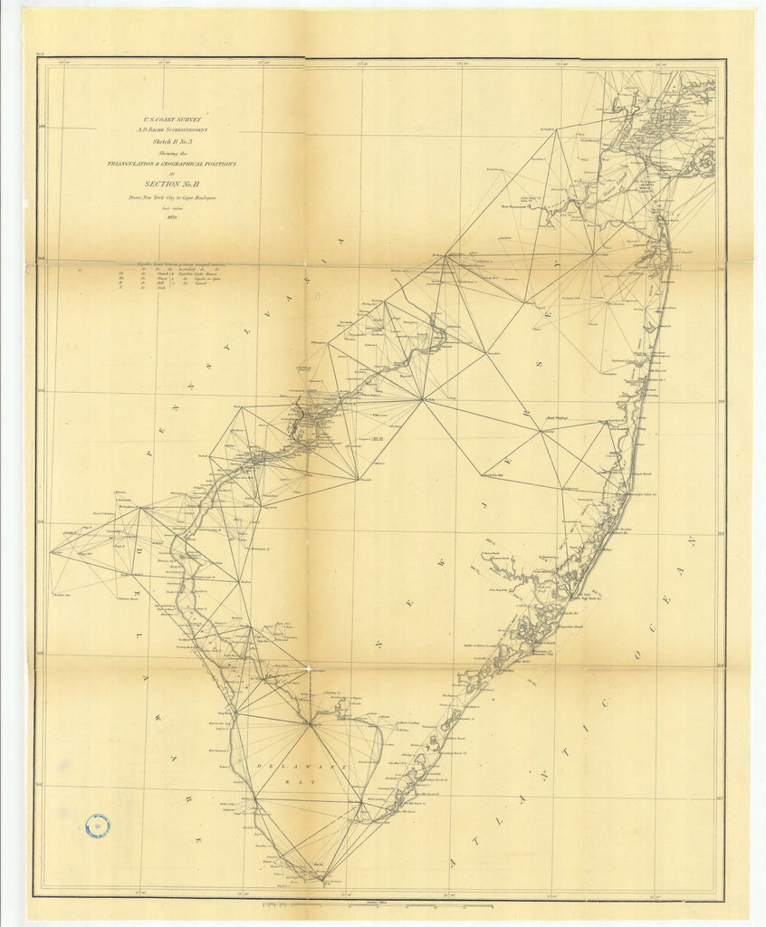 18 x 24 inch 1873 New York old nautical map drawing chart of Sketch B Number 3 Showing the Triangulation and Geographical Positions in Section Number 2 from New York City to Cape Henlopen From  U.S. Coast Survey x7681