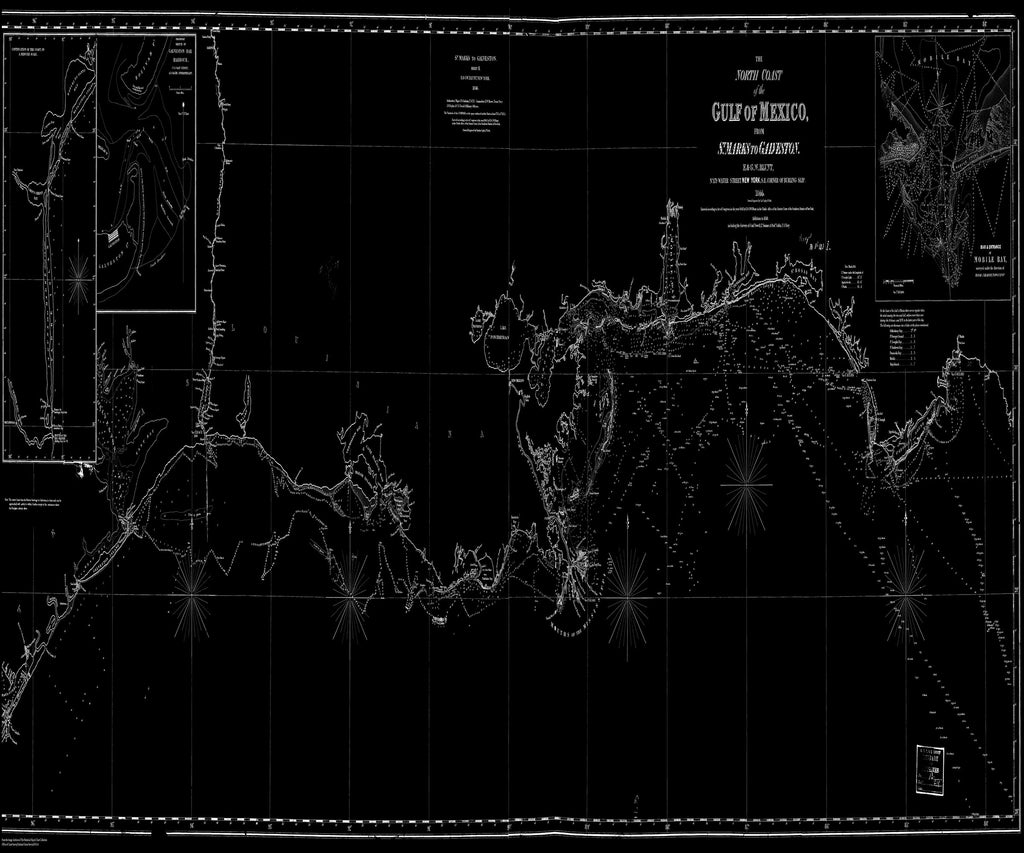18 x 24 inch 1844 US old nautical map drawing chart of The North Coast of the Gulf of Mexico From  Blunt x5565