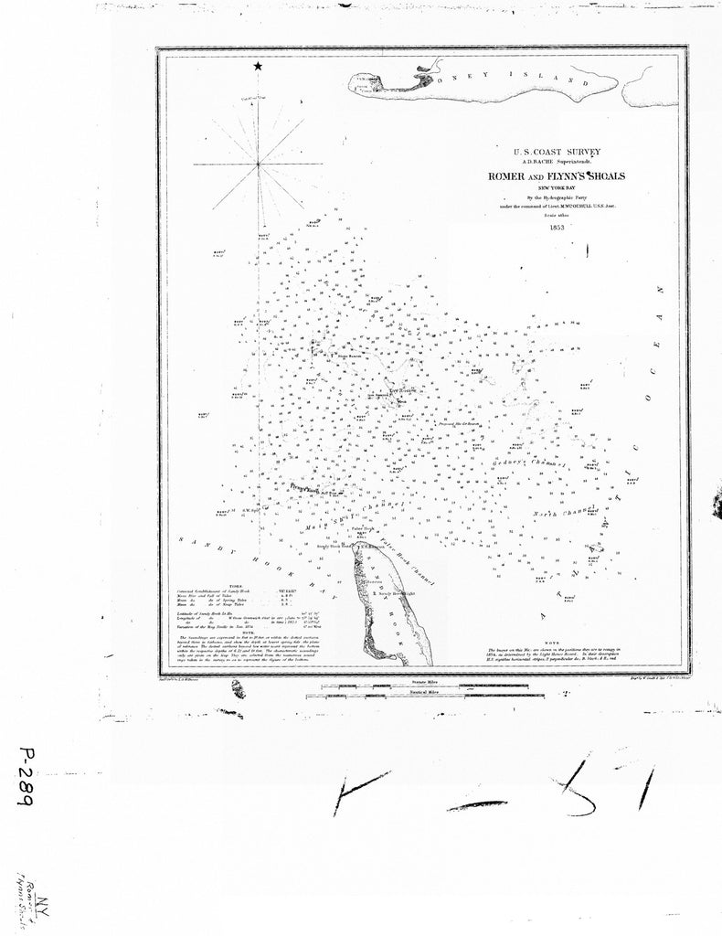 18 x 24 inch 1853 New York old nautical map drawing chart of ROMER AND FLYNN SHOALS From  U.S. Coast Survey x6962