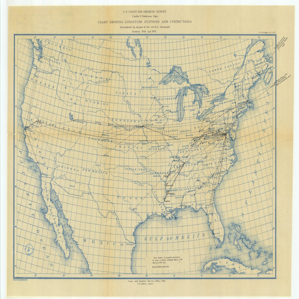 18 x 24 inch 1870 US old nautical map drawing chart of Chart Showing Longitude Stations and Connections Determined by Means of the Electric Telegraph Between 1846 and 1878 From  US Coast & Geodetic Survey x2300