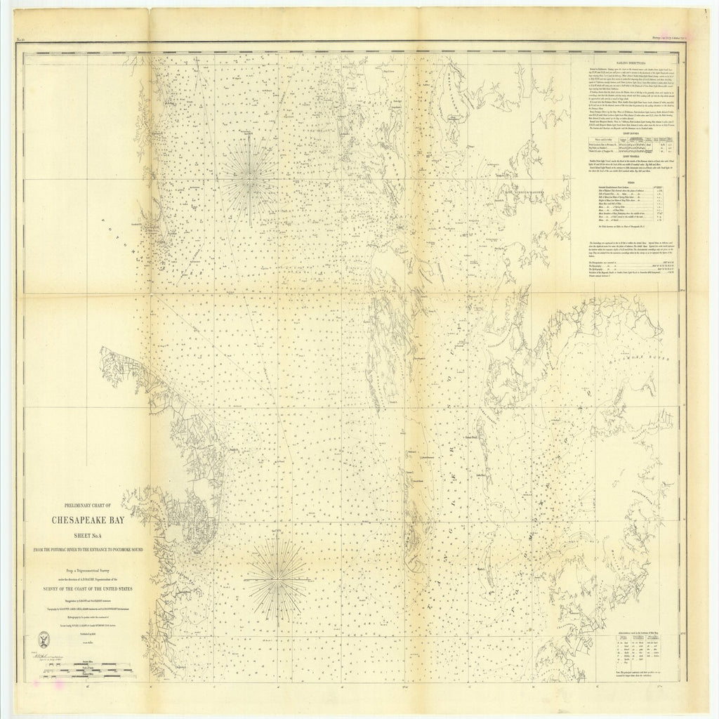 18 x 24 inch 1859 US old nautical map drawing chart of Preliminary Chart of Chesapeake Bay, Sheet Number 4 from the Potomac River to the Entrance to Pocomoke Sound From  U.S. Coast Survey x4073