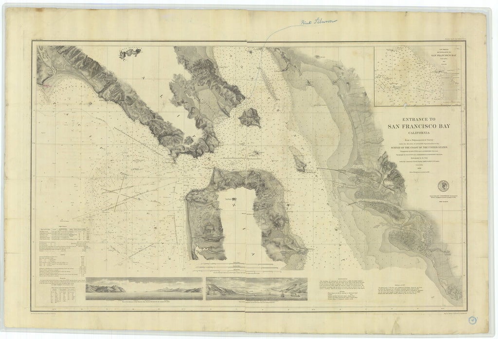 18 x 24 inch 1877 California old nautical map drawing chart of Entrance to San Francisco Bay California From  U.S. Coast Survey x7387
