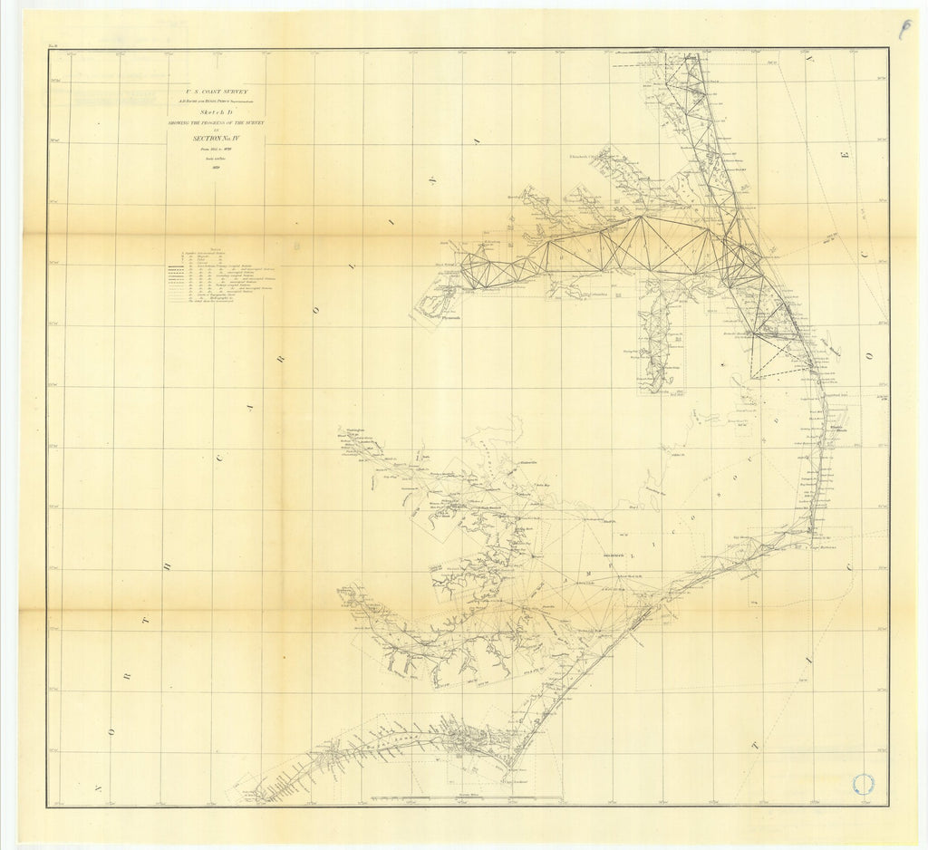 18 x 24 inch 1870 North Carolina old nautical map drawing chart of Sketch D Showing the Progress of the Survey in Section Number 4 from 1845 to 1870 From  U.S. Coast Survey x7194