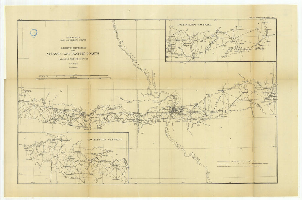 18 x 24 inch 1882 US old nautical map drawing chart of Geodetic Connection of the Atlantic and Pacific Coasts, Illinois and Missouri with Continuation Eastward and Continuation Westward From  US Coast & Geodetic Survey x1803