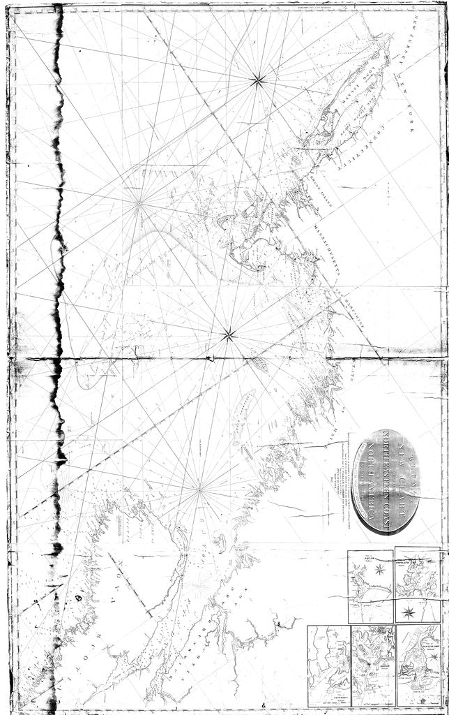 18 x 24 inch 1821 Maine old nautical map drawing chart of North-Eastern Coast of North America From  Blunt x6328