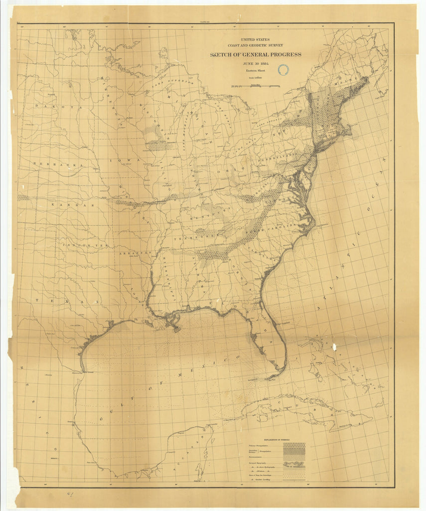 18 x 24 inch 1884 US old nautical map drawing chart of Sketch of General Progress, June 30, 1884, Eastern Sheet From  US Coast & Geodetic Survey x1043