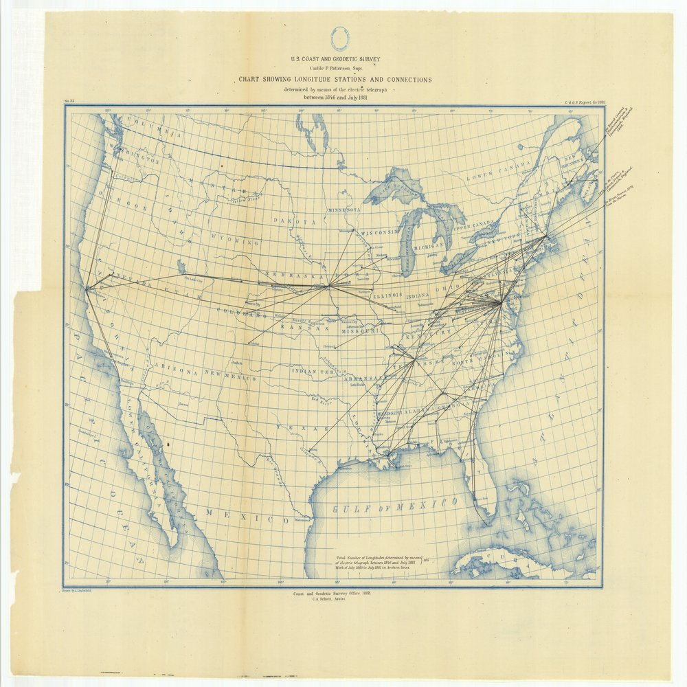 18 x 24 inch 1881 US old nautical map drawing chart of Chart Showing Longitude Stations and Connections Determined by Means of the Electric Telegraph Between 1846 and July 1881 From  U.S. Coast Survey x171