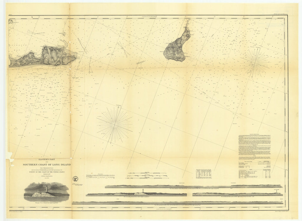 18 x 24 inch 1857 New York old nautical map drawing chart of Eastern Part of the Southern Coast of Long Island From  U.S. Coast Survey x7038