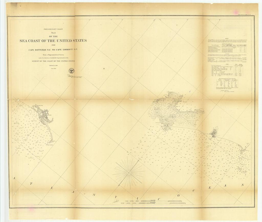 18 x 24 inch 1858 North Carolina old nautical map drawing chart of Preliminary Chart Number 11 of the Sea Coast of the United States from Cape Hatteras, North Carolina to Cape Lookout, North Carolina From  U.S. Coast Survey x7156