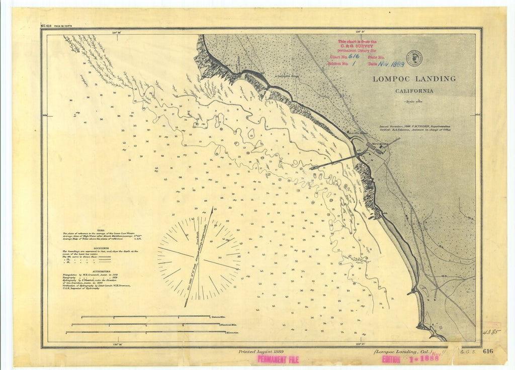 18 x 24 inch 1889 US old nautical map drawing chart of Lompoc Landing California From  US Coast & Geodetic Survey x1249