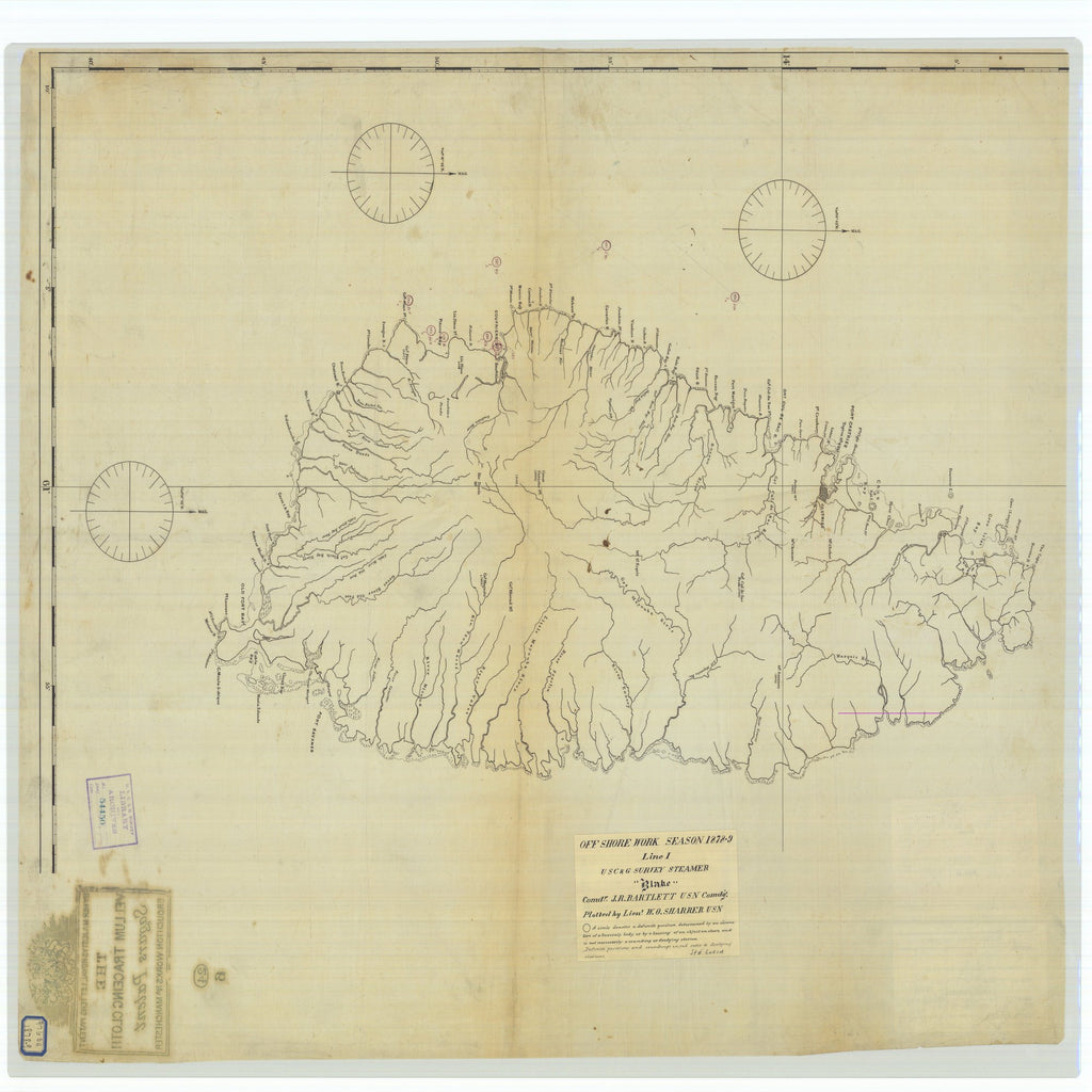 18 x 24 inch 1879 OTHER old nautical map drawing chart of Off Shore Work Season Line 1 From  US Coast & Geodetic Survey x7324