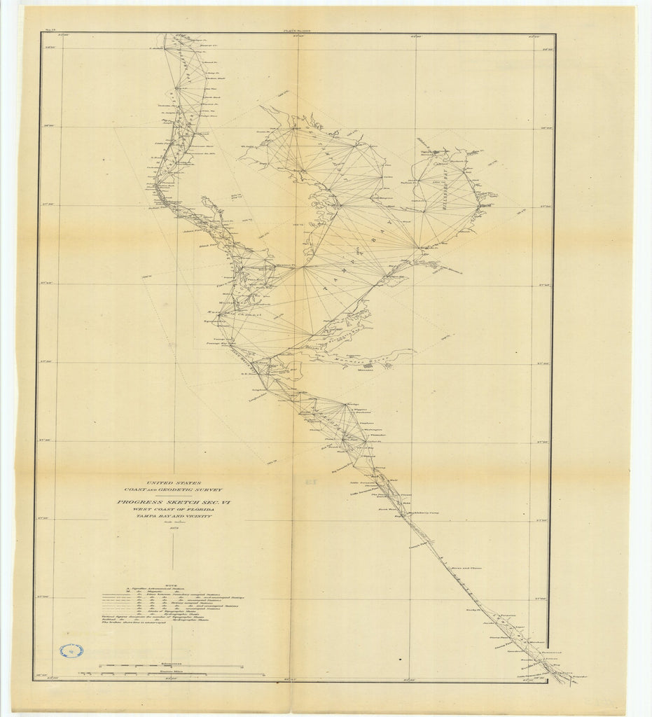 18 x 24 inch 1879 US old nautical map drawing chart of Progress Sketch, Section 6, West Coast of Florida, Tampa Bay and Vicinity From  US Coast & Geodetic Survey x2542