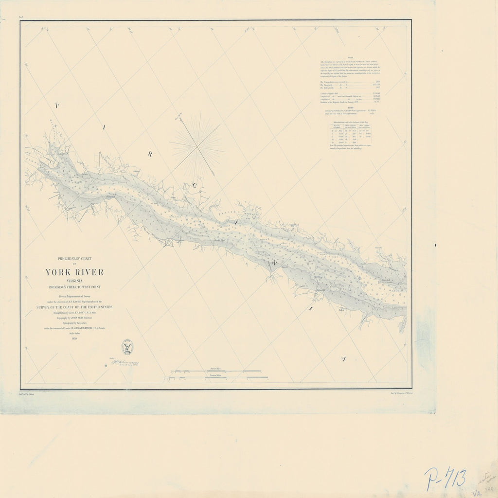 18 x 24 inch 1858 Virginia old nautical map drawing chart of YORK RIVER From  US Coast & Geodetic Survey x8683