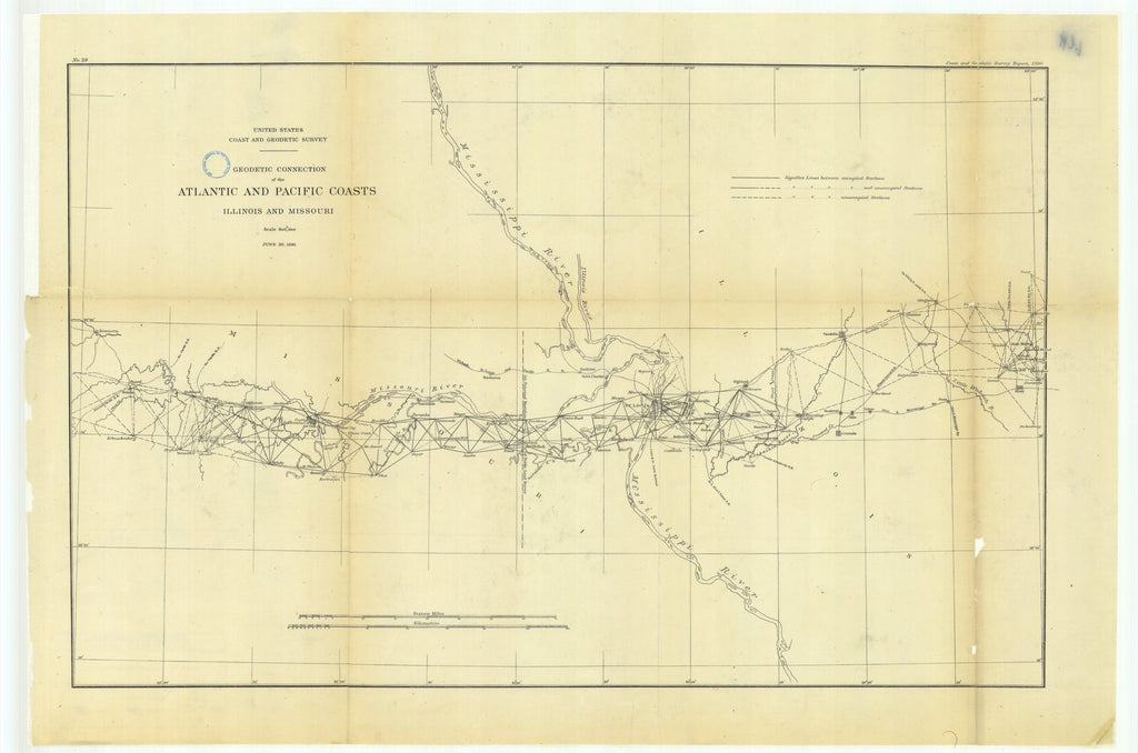 18 x 24 inch 1881 US old nautical map drawing chart of Geodetic Connection of the Atlantic and Pacific Coasts, Illinois and Missouri From  US Coast & Geodetic Survey x1557