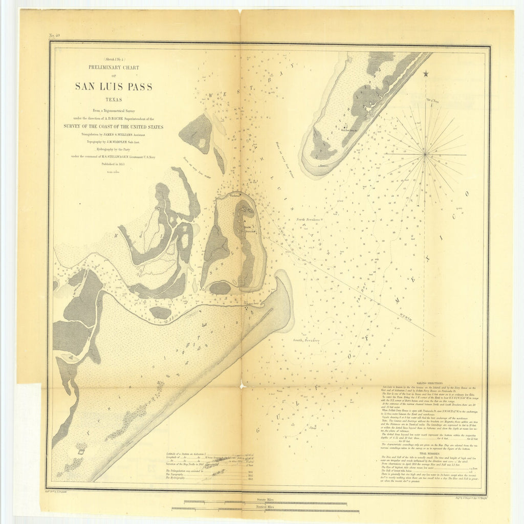 18 x 24 inch 1853 Texas old nautical map drawing chart of Preliminary Chart of San Luis Pass, Texas From  U.S. Coast Survey x10548