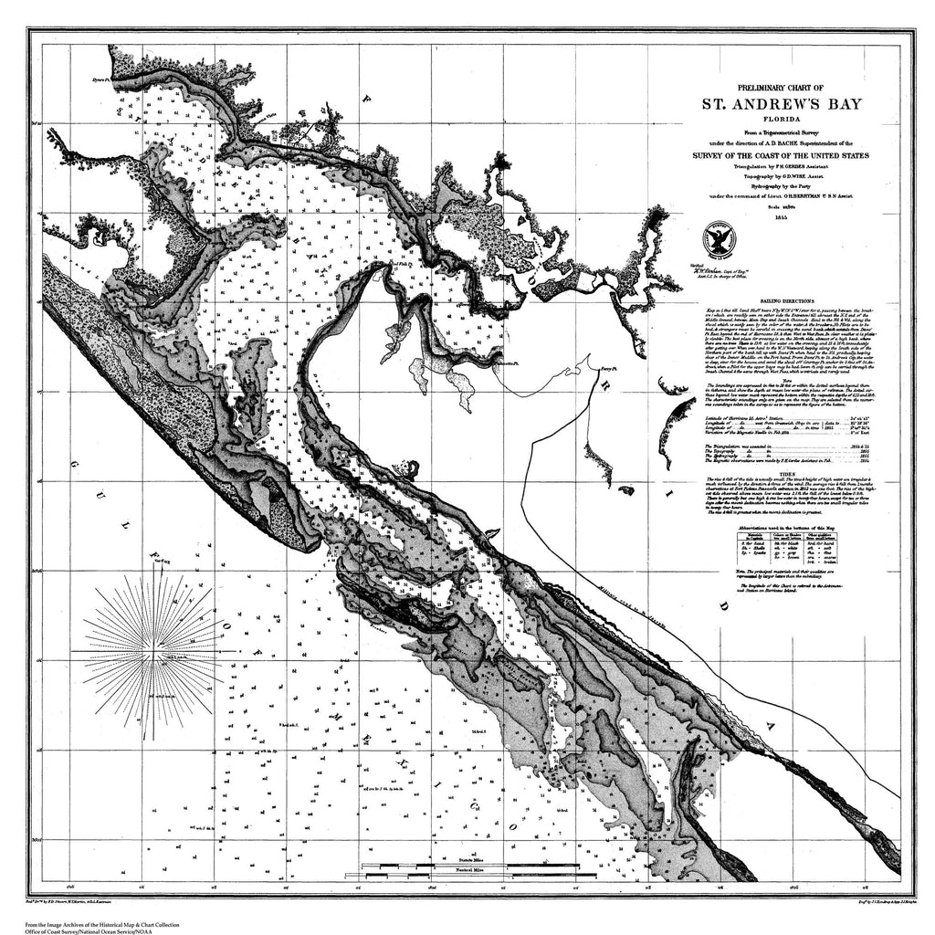 18 x 24 inch 1855 US old nautical map drawing chart of Preliminary Chart of St. Andrew's Bay From  U.S. Coast Survey x1369