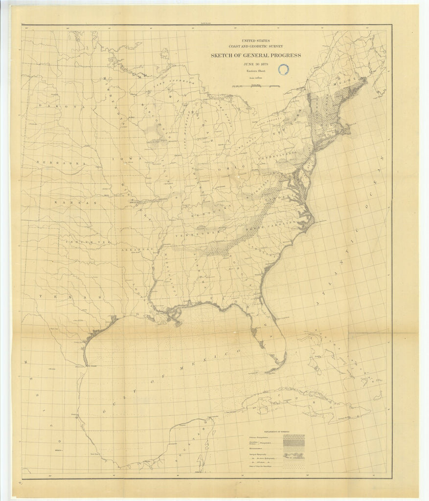 18 x 24 inch 1879 US old nautical map drawing chart of Sketch of General Progress, Eastern Sheet From  US Coast & Geodetic Survey x1236
