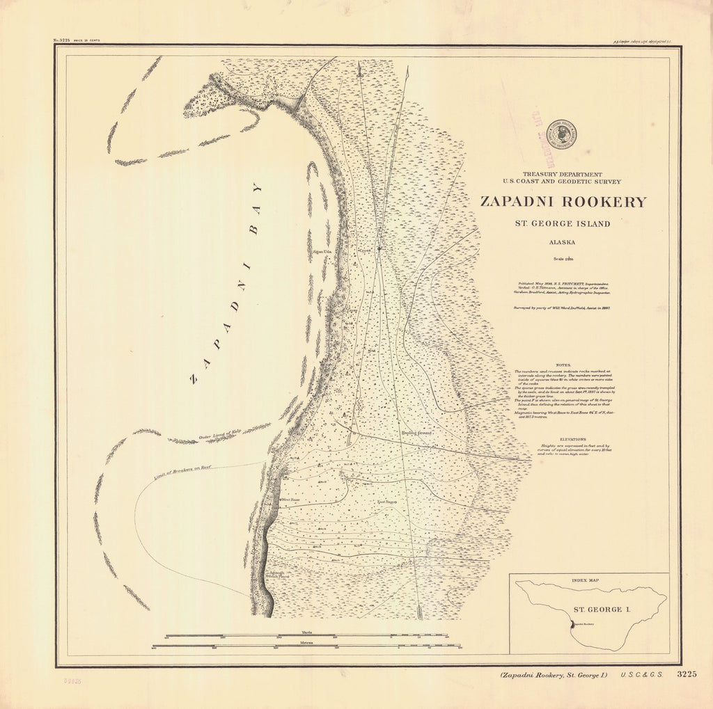 18 x 24 inch 1898 US old nautical map drawing chart of ZAPADNI ROOKERY ST. GEORGE ISLAND From  NOAA x232