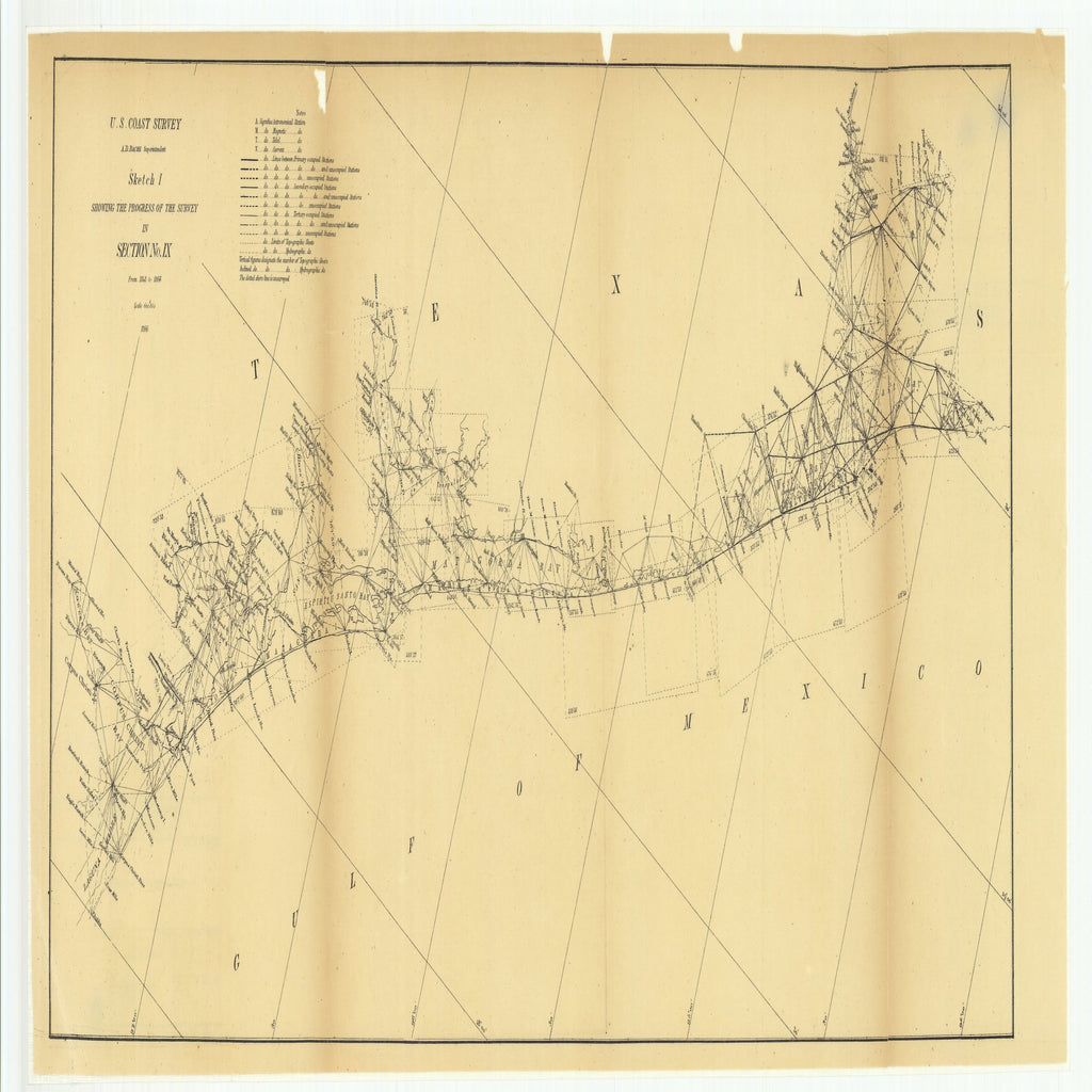 18 x 24 inch 1866 Texas old nautical map drawing chart of Sketch I Showing the Progress of the Survey in Section Number 9 from 1848 to 1866 From  U.S. Coast Survey x11725