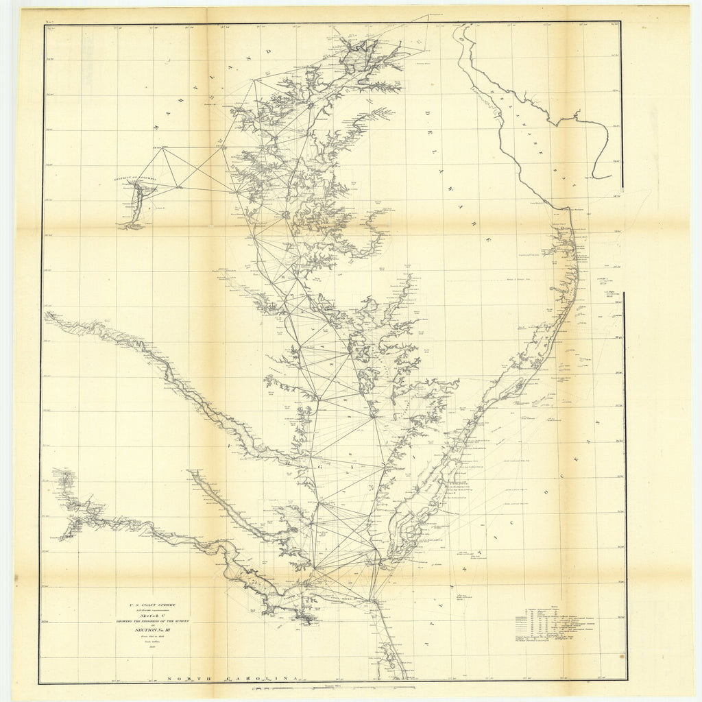18 x 24 inch 1856 Virginia old nautical map drawing chart of Sketch C Showing the Progress of the Survey in Section Number 3 from 1843 to 1856 From  U.S. Coast Survey x9508