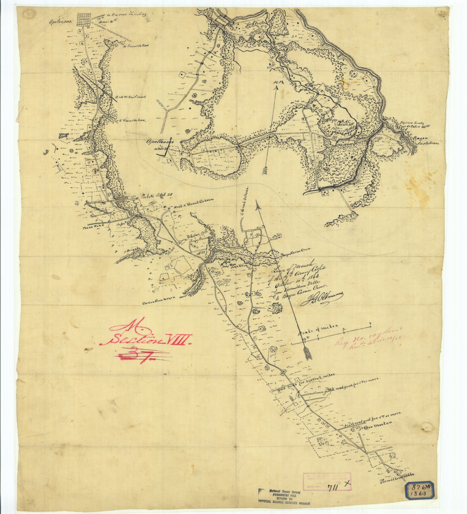 18 x 24 inch 1863 US old nautical map drawing chart of Line of March of the Nineteenth Army Corps October Eleventh 1863 from Vermillionville to Carion Craw Bayou From  NOAA x3021
