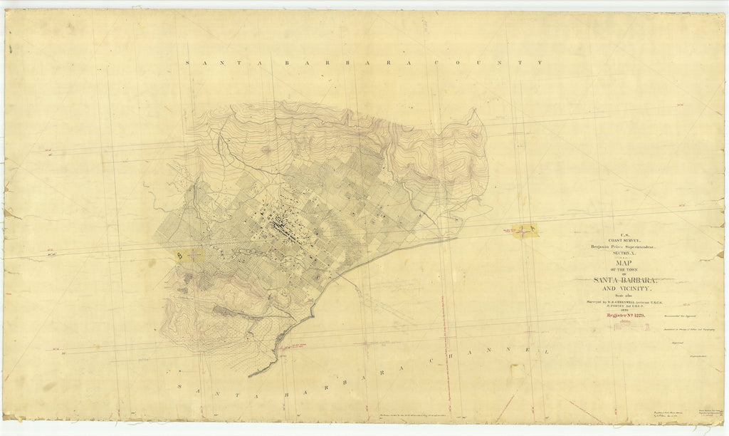 18 x 24 inch 1870 US old nautical map drawing chart of Town of Santa Barbara and Vicinity, CA From  U.S. Coast Survey x1708