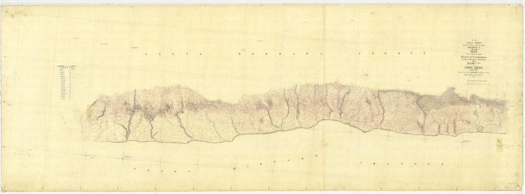 18 x 24 inch 1873 US old nautical map drawing chart of Control Point Ram to Cojo Viejo, California From  U.S. Coast Survey x470