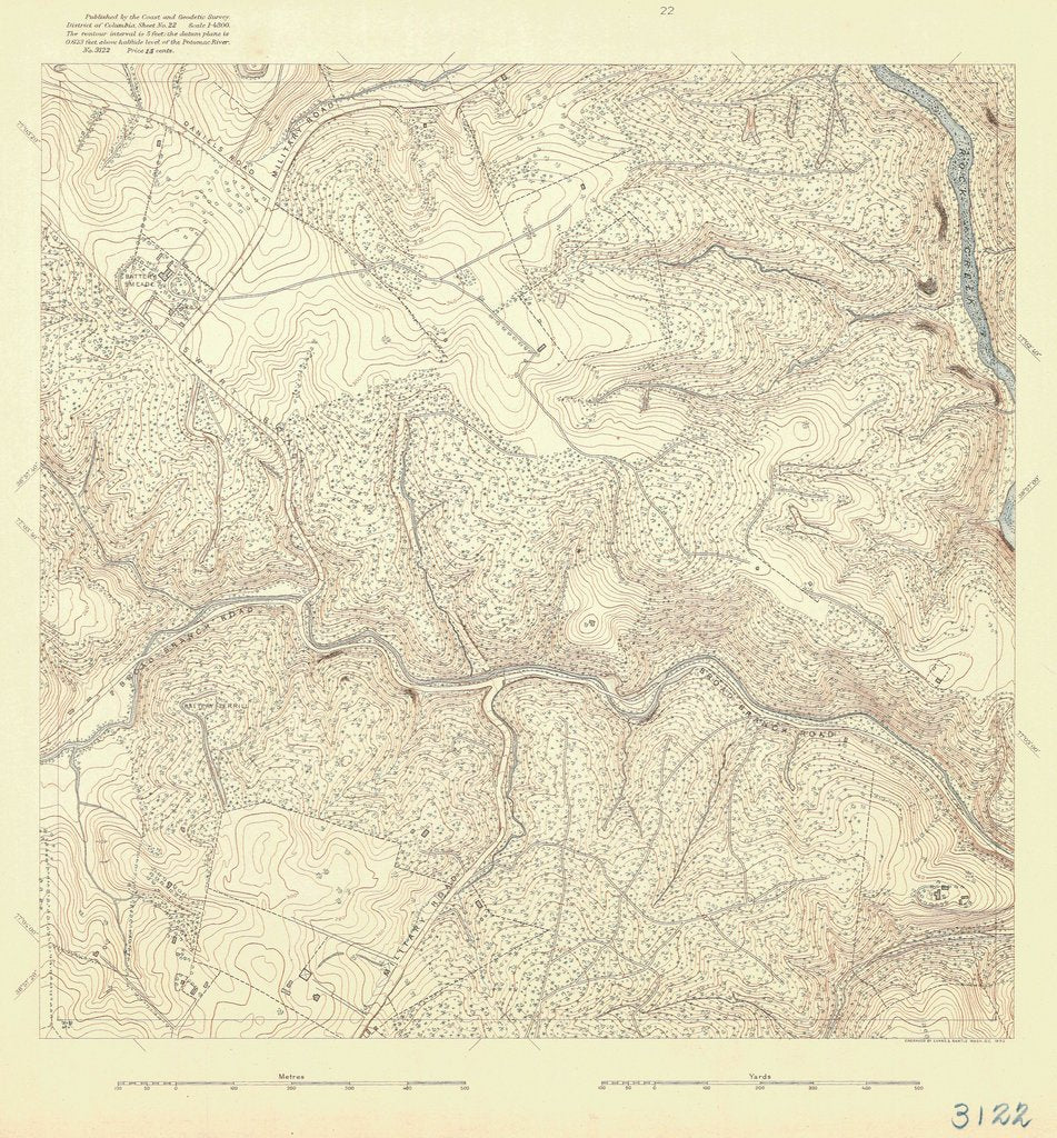 18 x 24 inch 1892 US old nautical map drawing chart of DANIELS ROAD From  US Coast & Geodetic Survey x413