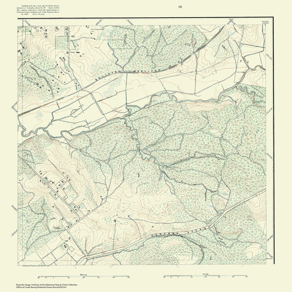 18 x 24 inch 1880 US old nautical map drawing chart of Topographic Map of Washington and Vicinity, Sheet 10 From  NOAA x1106