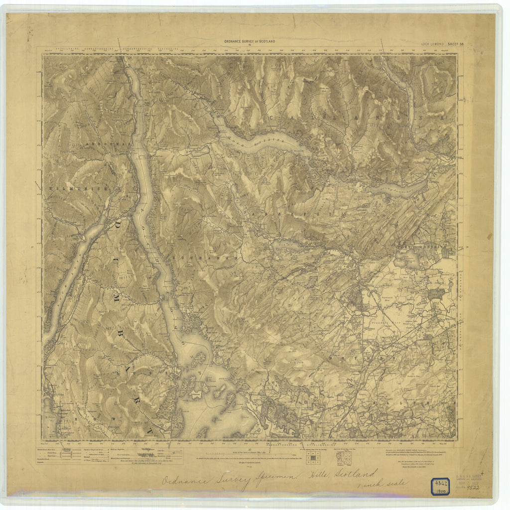 18 x 24 inch 1900 OTHER old nautical map drawing chart of Hills, Scotland From  Ordinance Survey of Scotland x7323
