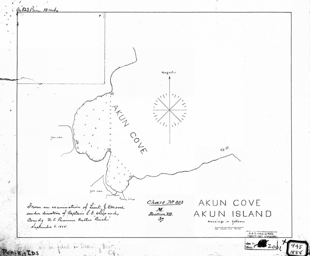 18 x 24 inch 1888 US old nautical map drawing chart of AKUN COVE AKUN ISLAND From  NOAA x1405