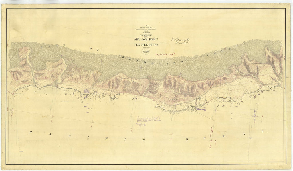 18 x 24 inch 1874 US old nautical map drawing chart of From Abalone Point to Ten Mile River From  U.S. Coast Survey x2081