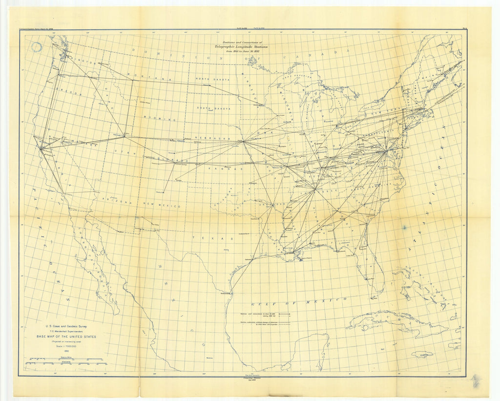 18 x 24 inch 1892 USA old nautical map drawing chart of No. 4. Map showing longitude stations and connections determined by the electric telegraph, between 1846 and Jane 30, 1892. From  US Coast & Geodetic Survey x12081