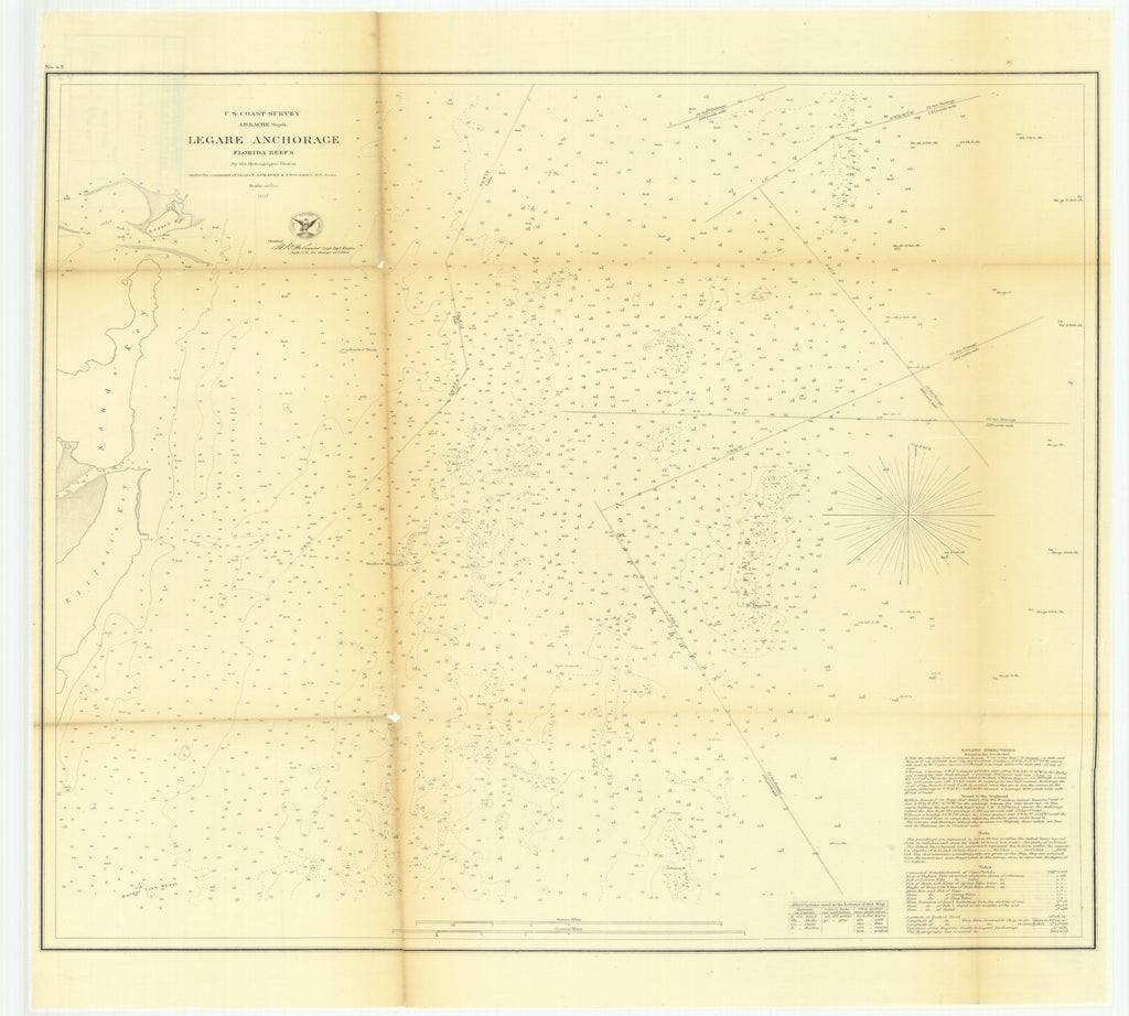 18 x 24 inch 1857 US old nautical map drawing chart of Legare Anchorage, Florida Reefs From  U.S. Coast Survey x1290