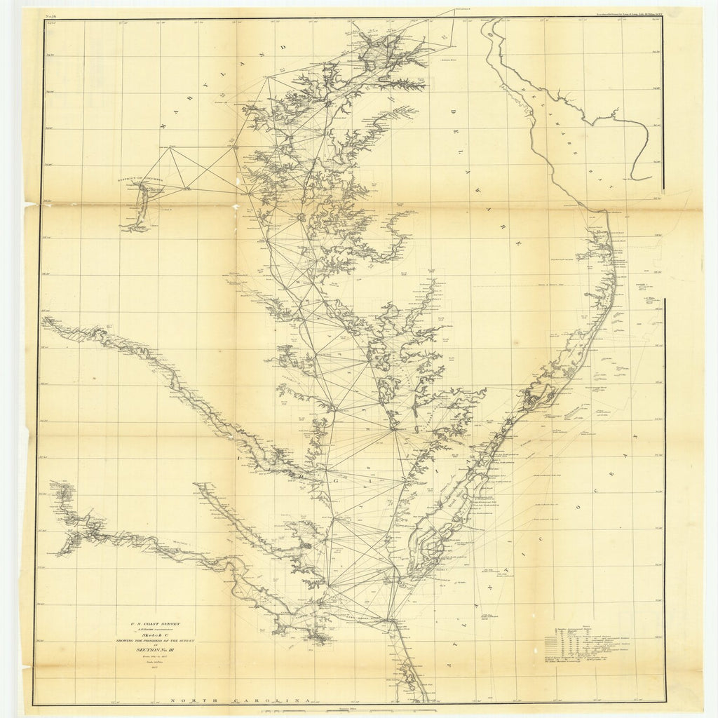18 x 24 inch 1858 US old nautical map drawing chart of Sketch C Showing the Progress of the Survey in Section Number 3 from 1843 to 1858 From  U.S. Coast Survey x1909