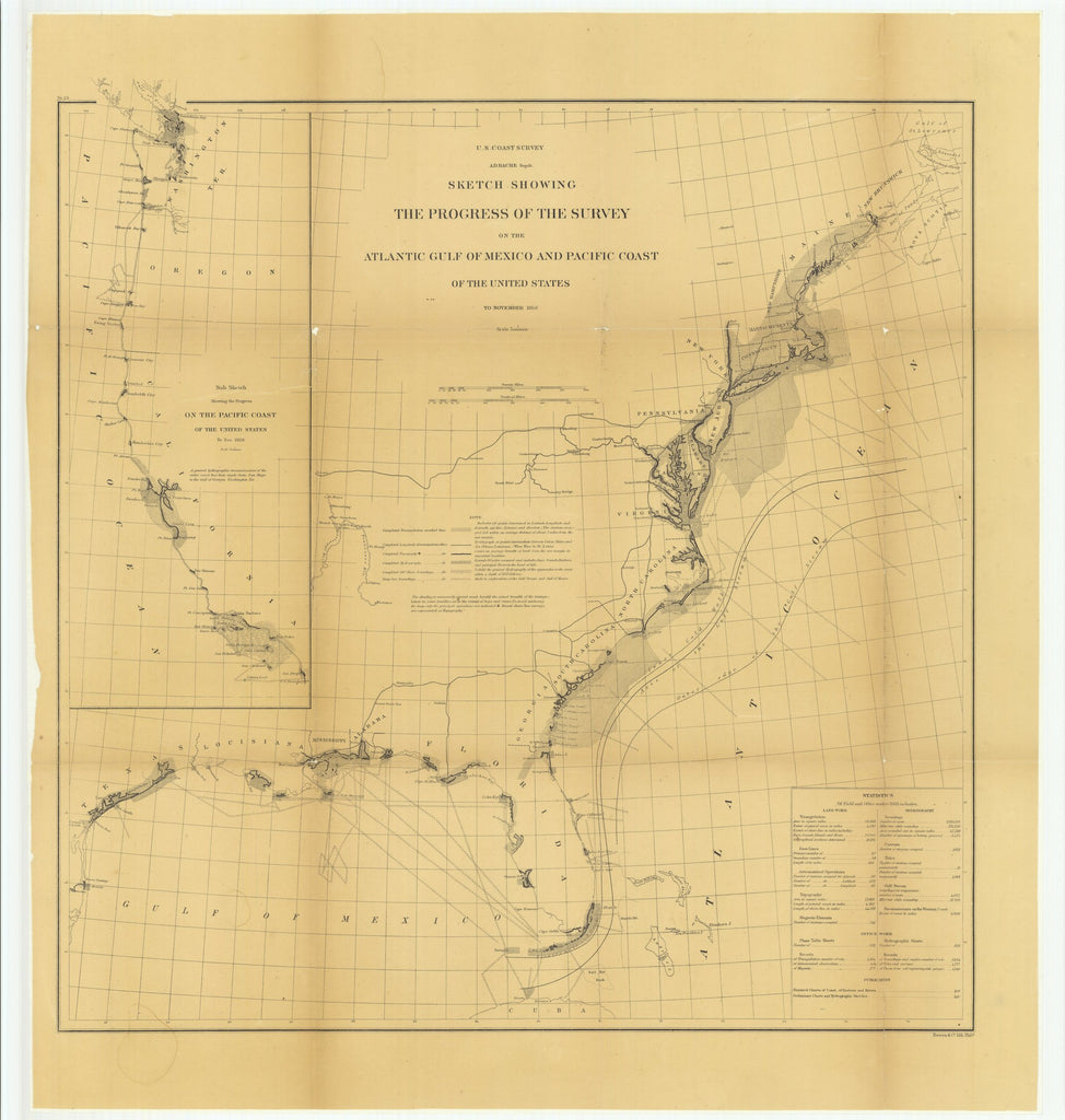 18 x 24 inch 1866 US old nautical map drawing chart of Sketch Showing the Progress of the Survey on the Atlantic Gulf of Mexico and Pacific Coast of the United States to November 1866.. From  U.S. Coast Survey x1029