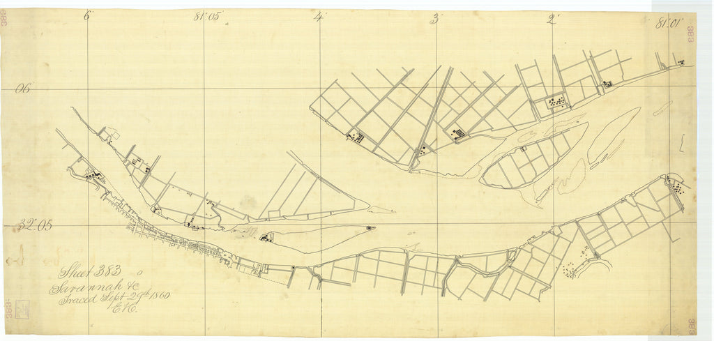 18 x 24 inch 1860 US old nautical map drawing chart of Savanah Sheet 383 From  U.S. Coast Survey x1490