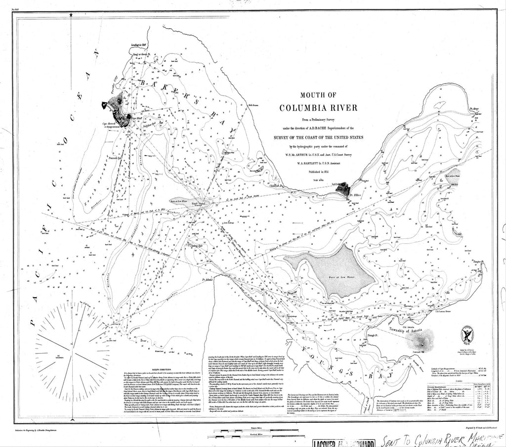 18 x 24 inch 1851 US old nautical map drawing chart of Cape Hancock From  U.S. Coast Survey x8529