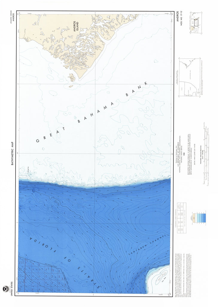 18 x 24 inch 1988 USA old nautical map drawing chart of ANDROS From  NOAA x11998