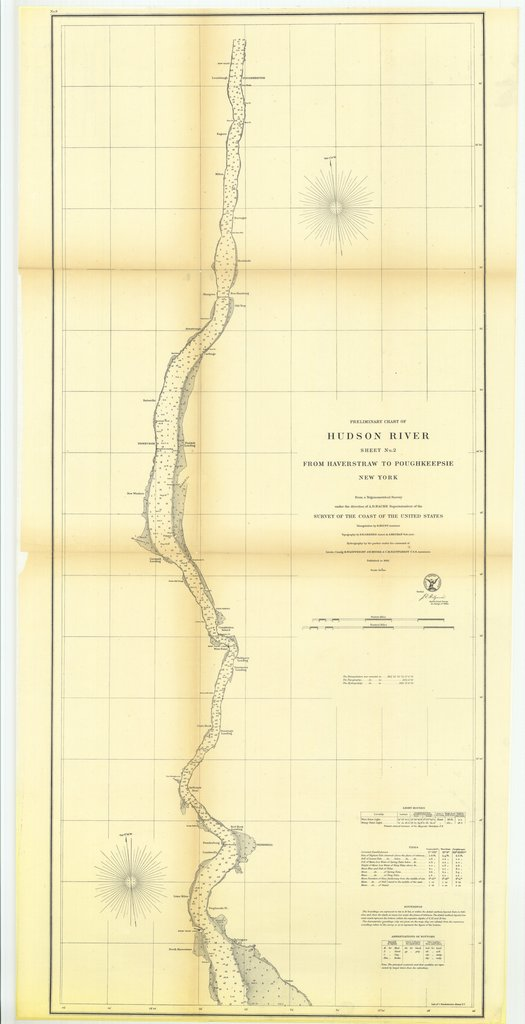18 x 24 inch 1861 New York old nautical map drawing chart of Preliminary Chart of Hudson River, Sheet Number 2 from Haverstraw to Poughkeepsie, New York From  U.S. Coast Survey x7012