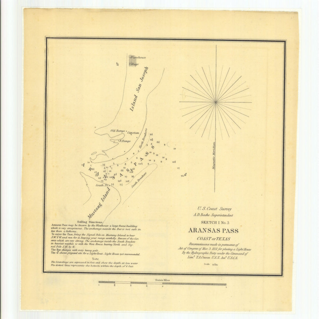 18 x 24 inch 1851 Texas old nautical map drawing chart of Sketch I Number 3, Aransas Pass, Coast of Texas From  U.S. Coast Survey x10564
