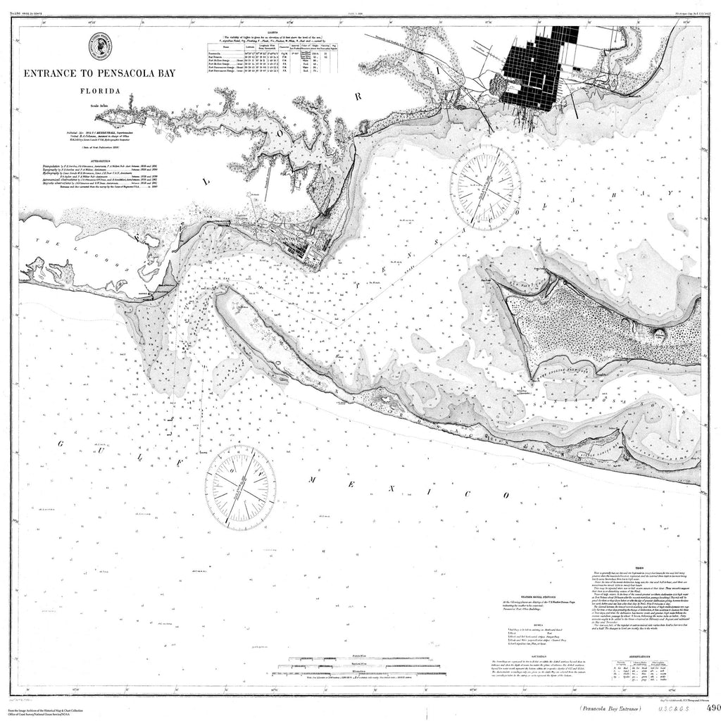 18 x 24 inch 1890 US old nautical map drawing chart of Navigation Chart of the Entrance to Pensacola Bay From  US Coast & Geodetic Survey x1349