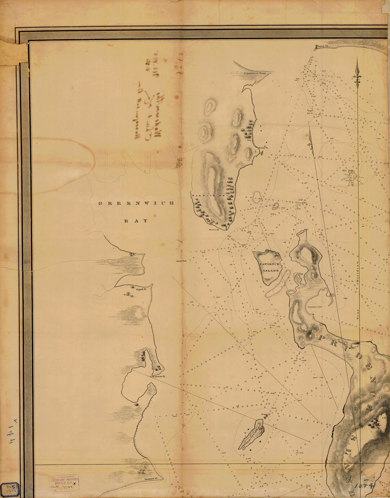 18 x 24 inch 1832 New York old nautical map drawing chart of GREENWICH BAY PART 1 OF 4 From  NOAA x6925
